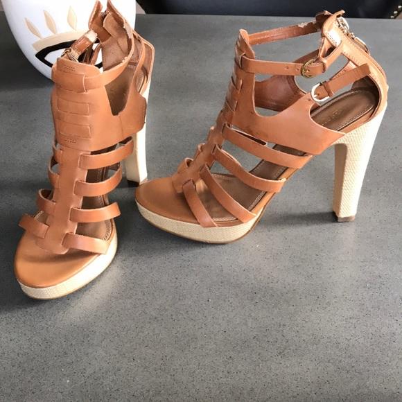 Guess leather Gwedelina woven heel tan heel sandal